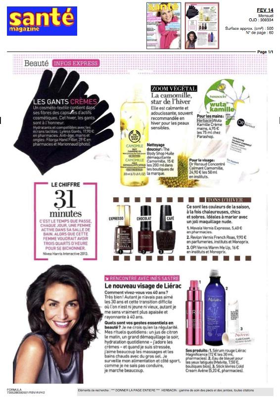 Herbacin dans Santé magazine - février 2014
